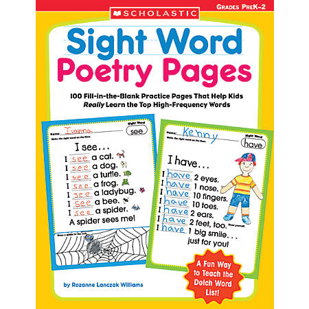 Scholastic Sight Word Poetry Pages