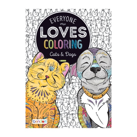 Bendon Adult Coloring Book Cats Dogs By Office Depot OfficeMax