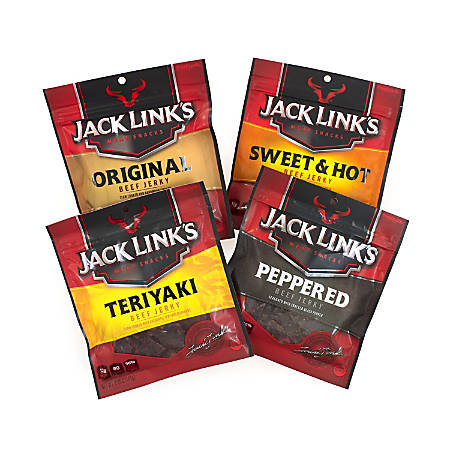 Jack Link's Variety Pack Beef Jerky, 2.85 Oz Pouches, Pack Of 4
