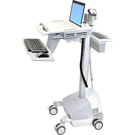 "Ergotron StyleView EMR Laptop Cart, SLA Powered - 18 lb Capacity - 4 Casters - Zinc Plated Steel, Plastic, Aluminum - 18.3"" Width x 50.5"" Height - Gray, White, Polished Aluminum"