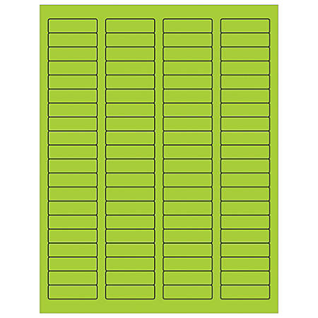 "Office Depot® Brand Labels, LL170GN, Rectangle, 1 3/4"" x 1/2"", Fluorescent Green, Case Of 8,000"