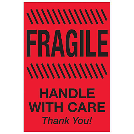 "Tape Logic® Preprinted Special Handling Labels, DL1186, Fragile Handle With Care, Rectangle, 4"" x 6"", Fluorescent Red, Roll Of 500"