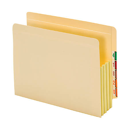 """Pendaflex® End-Tab File Pockets With Tyvek® Gusset, 3 1/2"""" Expansion, Letter Size, Manila, Pack Of 10 Pockets"""