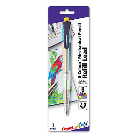 Pentel® 8-Color Mechanical Pencil, 2 mm, Assorted Lead Colors, Clear Barrel/Assorted Clip Colors