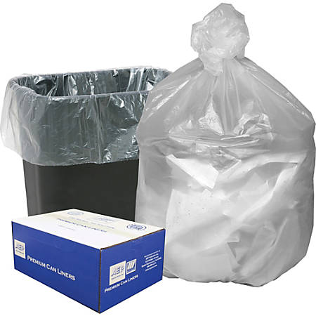 """Webster High Density Commercial Can Liners - Small Size - 16 gal - 24"""" Width x 33"""" Length x 0.31 mil (8 Micron) Thickness - High Density - Natural - Resin - 1000/Carton - Garbage"""