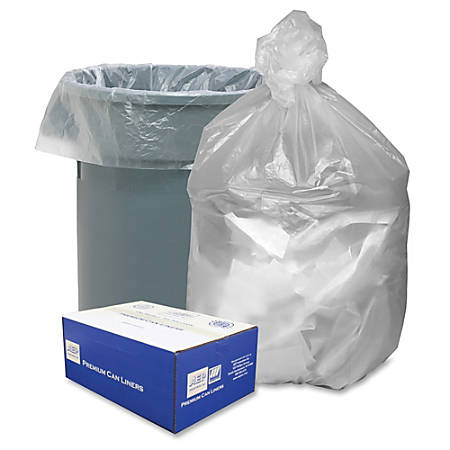 "Webster High Density Commercial Can Liners - Large Size - 45 gal - 40"" Width x 48"" Length x 0.31 mil (8 Micron) Thickness - High Density - Natural - Resin - 250/Carton - Garbage"