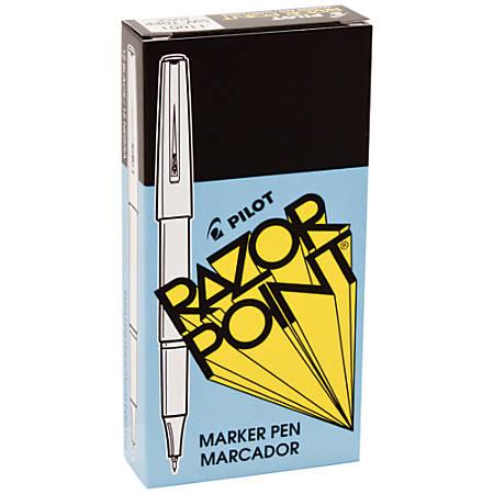 Pilot® Razor Point Pens, Extra-Fine Point, 0.3 mm, Black Barrel, Black Ink, Pack Of 12 Pens