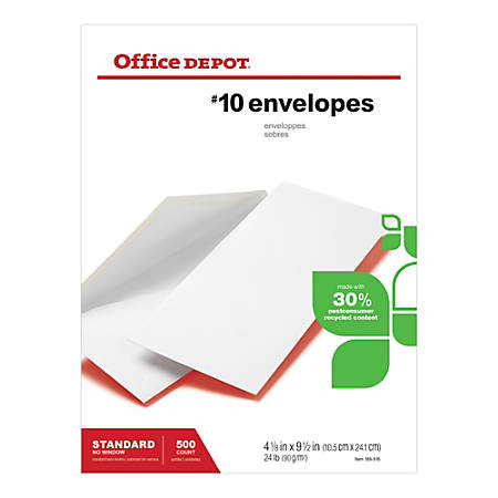 "Office Depot® Brand 30% Recycled All-Purpose Envelopes, #10, 4 1/8"" x 9 1/2"", White, Box Of 500"