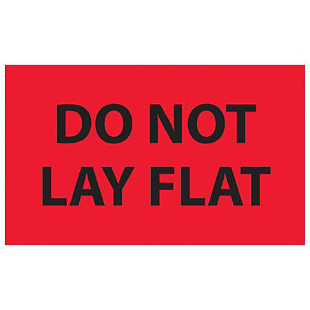 "Tape Logic® Preprinted Shipping Labels, DL1088, Do Not Lay Flat, Rectangle, 3"" x 5"", Fluorescent Red, Roll Of 500"