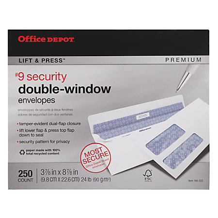 """Office Depot® Brand 100% Recycled Lift & Press™ Premium Double-Window Envelopes, #9, 3 7/8"""" x 8 7/8"""", White, Pack Of 250"""