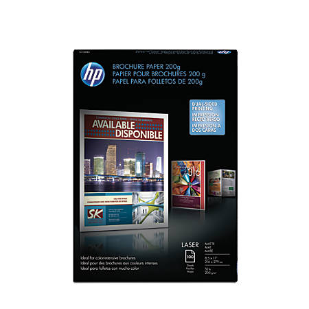 "HP Brochure Laser Paper, Matte, 8 1/2"" x 11"", 52 Lb, Pack Of 100 Sheets"