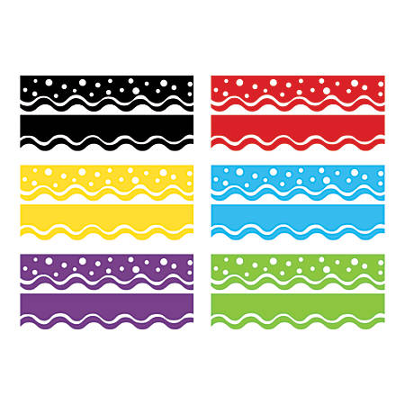 "Barker Creek® Double-Sided Scalloped-Edge Border Strips, 2 1/4"" x 36"", Happy, 13 Strips Per Pack, Set Of 6 Packs"