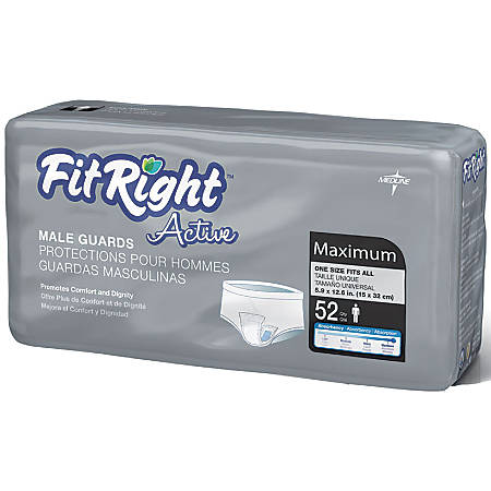 """FitRight Active Male Guards, 6"""" x 11"""", White, Bag Of 52"""