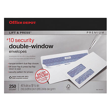 "Office Depot® Brand 100% Recycled Lift & Press™ Double-Window Security Envelopes, #10, 4 1/8"" x 9 1/2"", White, Pack Of 250"