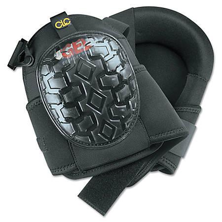 Professional Gel Kneepads, Elastic Upper Straps w/ Buckle-Style Fasteners, Black