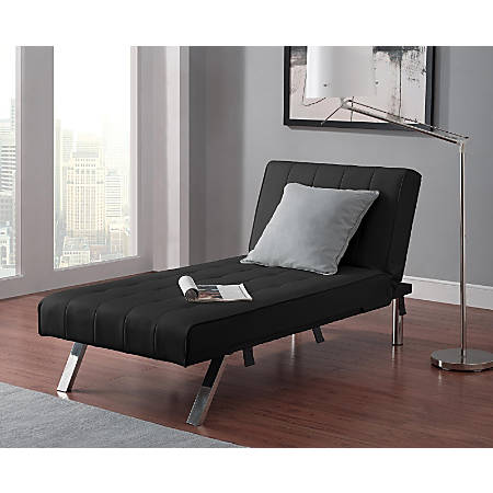 """DHP Emily Chaise Lounger, Faux Leather, 32 1/2""""H x 61 1/2""""W x 30""""D, Black"""