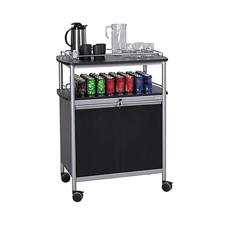 "Safco® Mobile Beverage Cart, 43""H x 33 1/2"" W x 21 3/4"" D, Black/Silver"