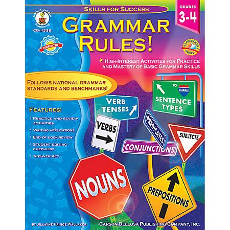 Carson-Dellosa Skills For Success Book — Grammar Rules!: Grades 3-4