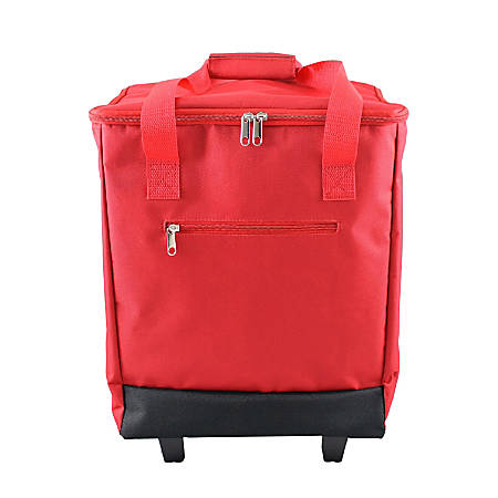 "PAI Rolling Cooler Bag, 19""H x 14""W x 9 1/2""D, Red"