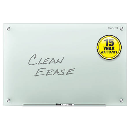 "Quartet® Infinity™ Frosted-Glass Frameless Dry-Erase Board, Non-Magnetic, 36"" x 24"""