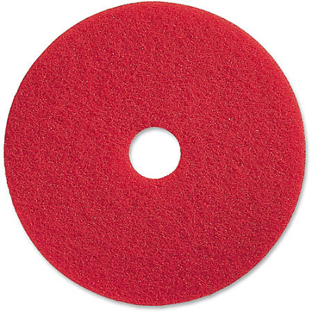 "Genuine Joe Red Buffing Floor Pad - 19"" Diameter - 5/Carton x 19"" Diameter x 1"" Thickness - Fiber - Red"