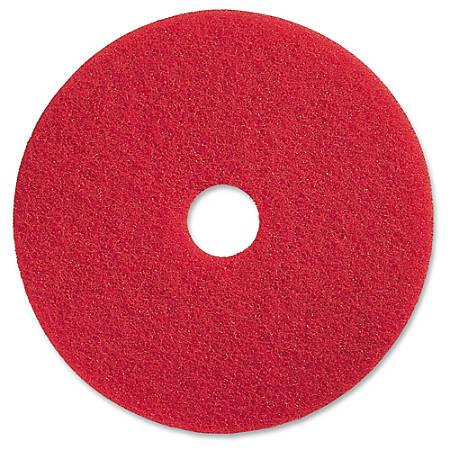 "Genuine Joe Red Buffing Floor Pad - 19"" Diameter - 5/Carton x 19"" Diameter x 1"" Thickness - Fiber - Red"