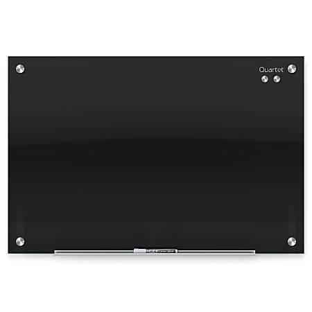 """Quartet® Infinity™ Magnetic Black Glass Marker Frameless Board, 48"""" x 36"""""""