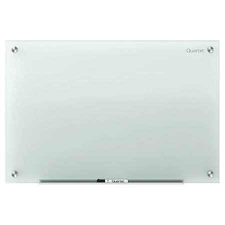 """Quartet® Infinity™ Frosted-Glass Frameless Dry-Erase Board, Non-Magnetic, 48"""" x 36"""""""