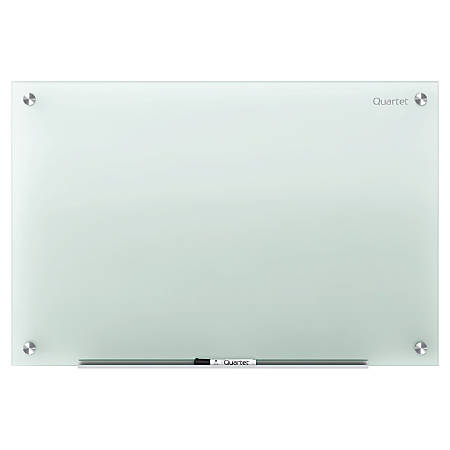 """Quartet® Infinity™ Frosted-Glass Frameless Dry-Erase Board, Non-Magnetic, 72"""" x 48"""""""