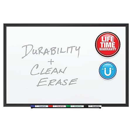 """Quartet® DuraMax® Porcelain Magnetic Whiteboard, Black Aluminum Frame, 60"""" x 36"""""""