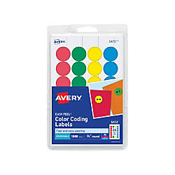Avery removable round color coding labels 5472 34 diameter for Avery template 5472