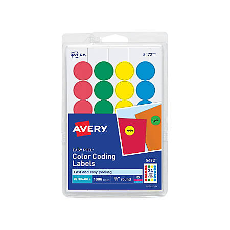 "Avery® Removable Round Color-Coding Labels, 5472, 3/4"" Diameter, Assorted Colors, Pack Of 1,008"