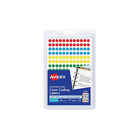 "Avery® Removable Round Color-Coding Labels, 5795, 1/4"" Diameter, Assorted Colors, Pack Of 768"