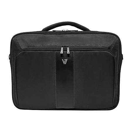 """V7 Professional CCP24-9N Carrying Case (Briefcase) for 13"""" Notebook - Black - Weather Resistant Interior, Moisture Resistant Handle - 420D Nylon - Handle, Shoulder Strap - 10.5"""" Height x 13.5"""" Width x 3"""" Depth"""