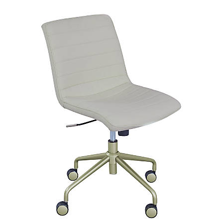 Elle Décor Adelaide Mid-Back Task Chair, Ivory/Yellow Gold