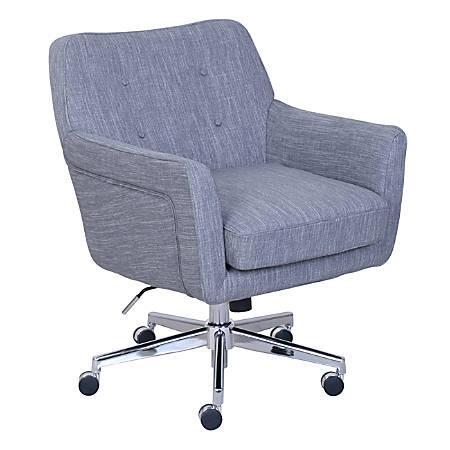 Serta Ashland Mid-Back Office Chair, Winter River Gray/Chrome