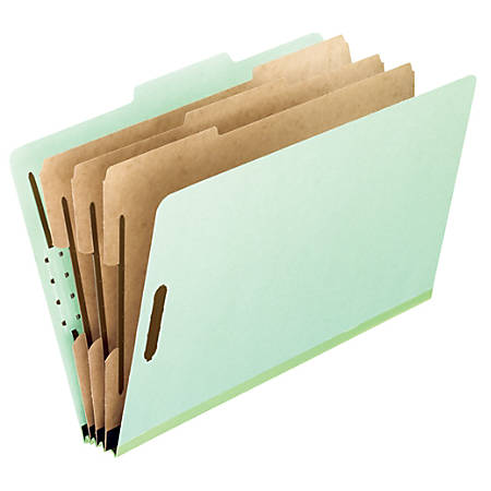 "Pendaflex® Pressboard Classification Folders, 3"" Expansion, Letter Size, Light Green, Box Of 10 Folders"
