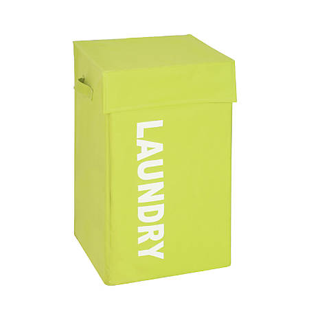 "Honey-Can-Do Square Hamper With Lid, 23 1/2"" x 14"" x 14"", Green Print"