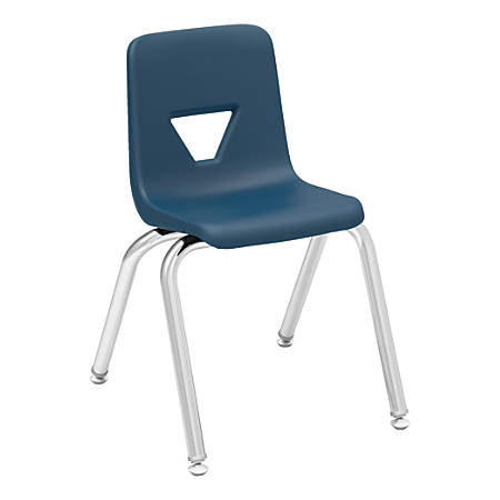 "Lorell® Classroom Student Stack Chairs, 14""H Seat, Navy/Silver, Set Of 4"