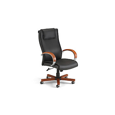 "OFM Apex High-Back Leather Chair With Wood Accents, 46""H x 27""W x 26""D, Black/Cherry Frame, Black Leather"