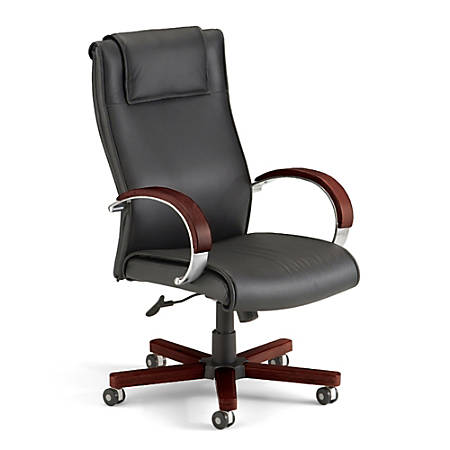 """OFM Apex High-Back Leather Chair With Wood Accents, 46""""H x 27""""W x 26""""D, Black/Mahogany Frame, Black Leather"""