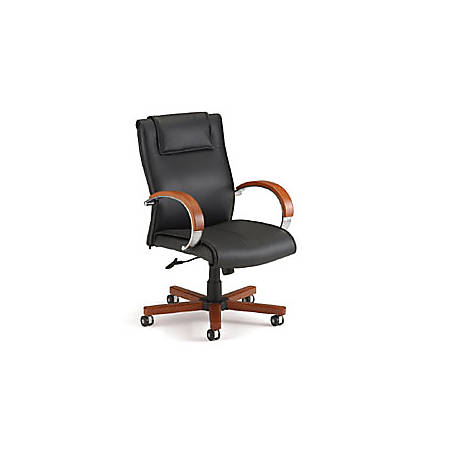 """OFM Apex Mid-Back Leather Chair With Wood Accents, 42.5""""H x 27""""W x 26""""D, Black/Cherry Frame, Black Leather"""