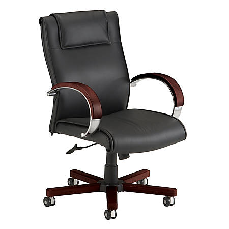OFM Apex Mid-Back Leather Chair With Wood Accents, Mahogany/Black