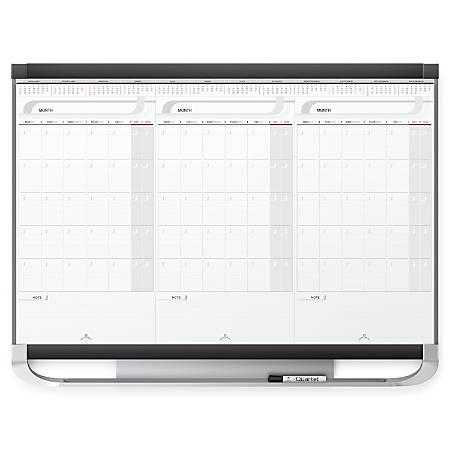 "Quartet® Prestige® 2 Total Erase® 3-Month Calendar, 36"" x 24"""