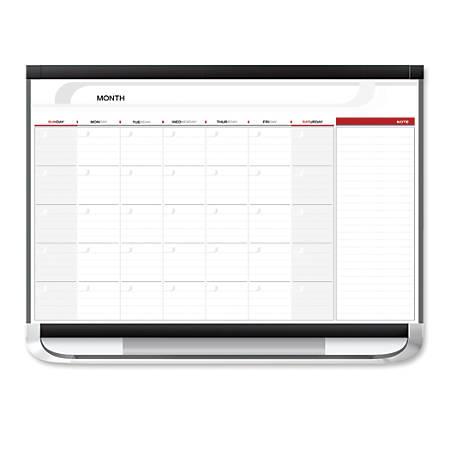 "Quartet® Prestige® 2 Total Erase® Magnetic Project Planner, Monthly Calendar, 36"" x 24"", White/Graphite"