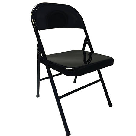 Realspace® Metal Folding Chairs, Black, Set Of 4 Chairs