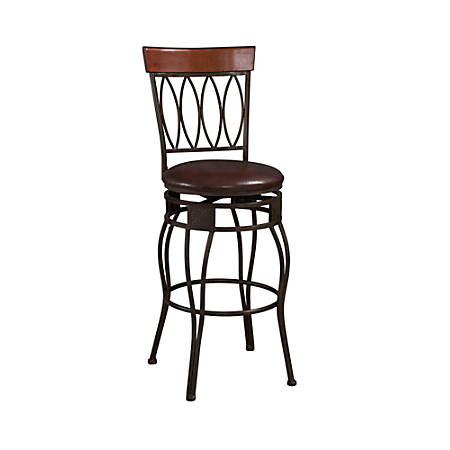 Linon Home Decor Products Four-Oval-Back Counter Stool, Chocolate/Matte Bronze