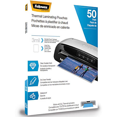 "Fellowes Thermal Laminating Pouches - Letter, 3mil, 50 pack - Sheet Size Supported: Letter 8.50"" Width x 11"" Length - Laminating Pouch/Sheet Size: 3 mil Thickness - Glossy - for Document - Photo-safe, Durable - Clear - 50 / Pack"