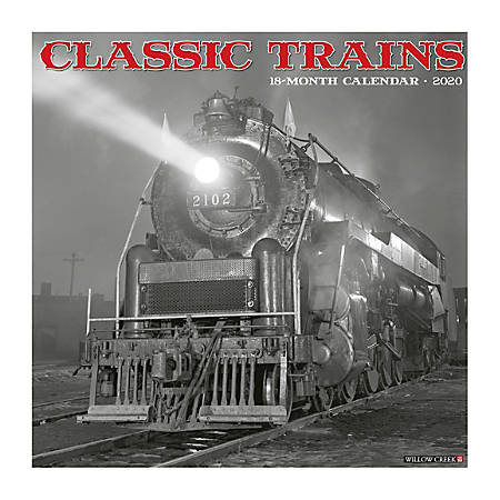 "Willow Creek Press Hobbies Monthly Wall Calendar, 12"" x 12"", Classic Trains, January To December 2020"