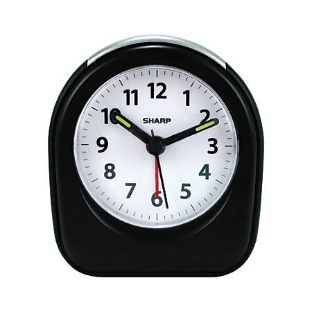 "Sharp® Ascending Alarm Quartz Analog Battery-Powered Clock, 3 1/2"" x 3"" x 1 3/4"", Black"
